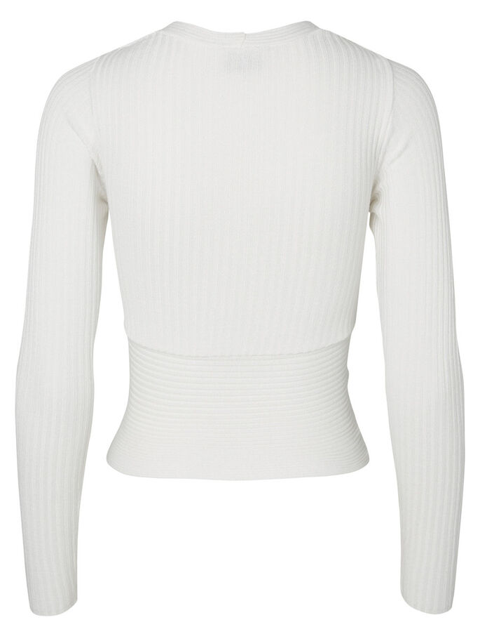 KNITTED LONG SLEEVED TOP, Bright White, large