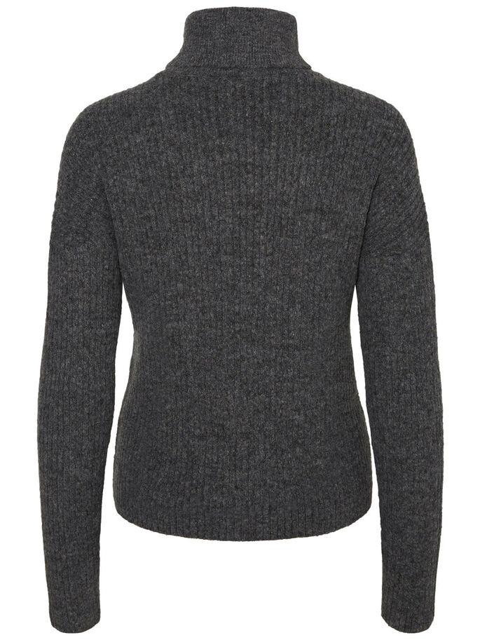 GESTRICKTES PULLOVER, Medium Grey Melange, large