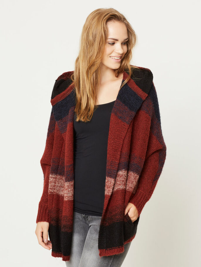 LONG KNITTED CARDIGAN, Fired Brick, large
