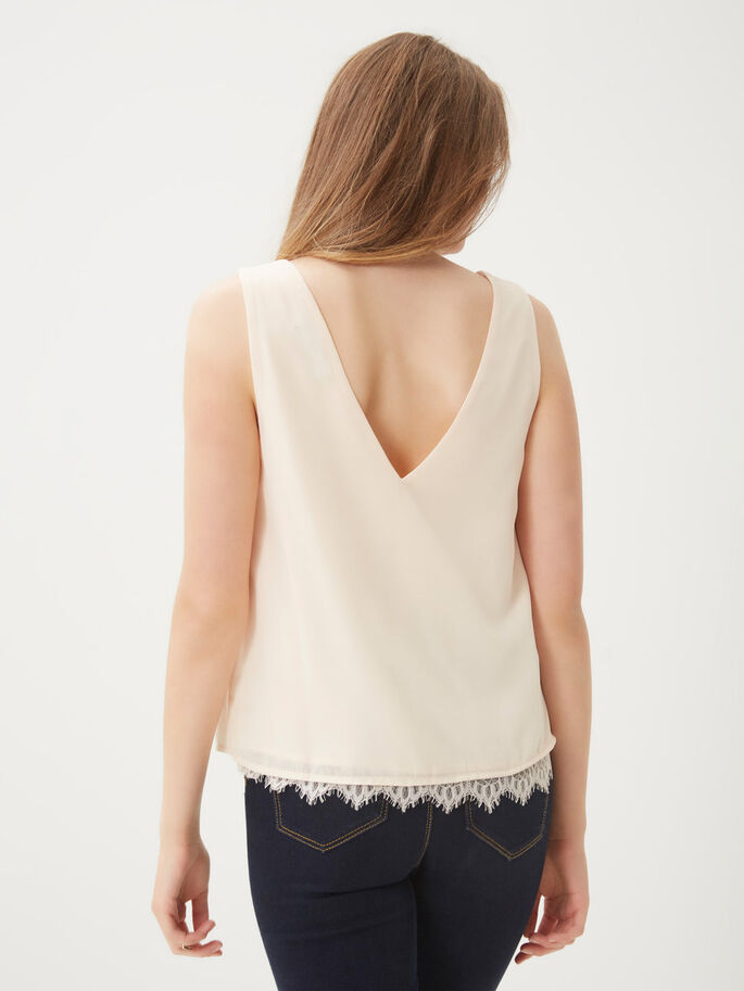 LACE SLEEVELESS TOP, Cream Tan, large