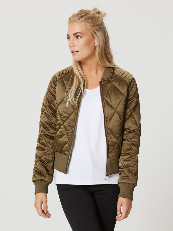 PADDED BOMBER JACKET, Ivy Green, large