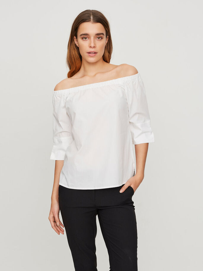 OFF-SHOULDER 3/4 SLEEVED TOP, Bright White, large