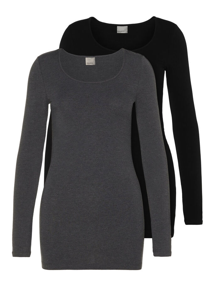 2-PACK CASUAL LONG SLEEVED BLOUSE, Dark Grey Melange, large