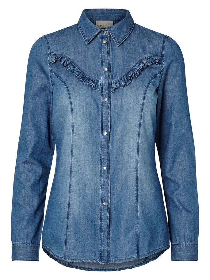 LONG SLEEVED DENIM SHIRT, Medium Blue Denim, large
