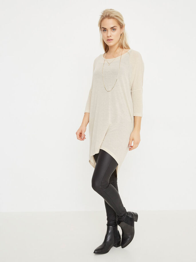 LOOSE FIT 3/4 SLEEVED TOP, Oatmeal, large