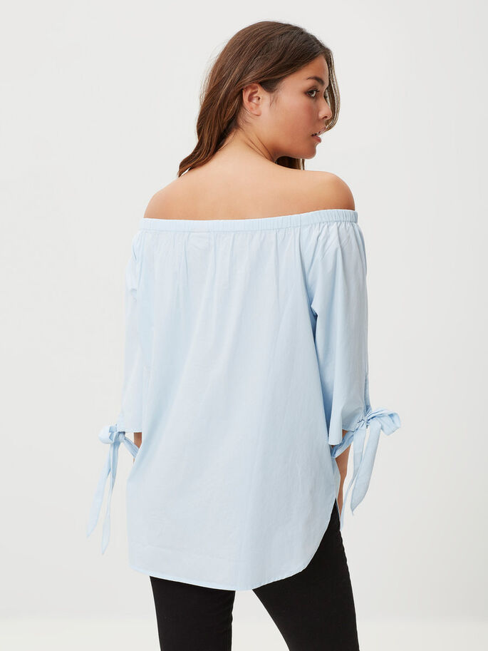 OFF-SHOULDER- OBERTEIL MIT 3/4-ÄRMELN, Cashmere Blue, large