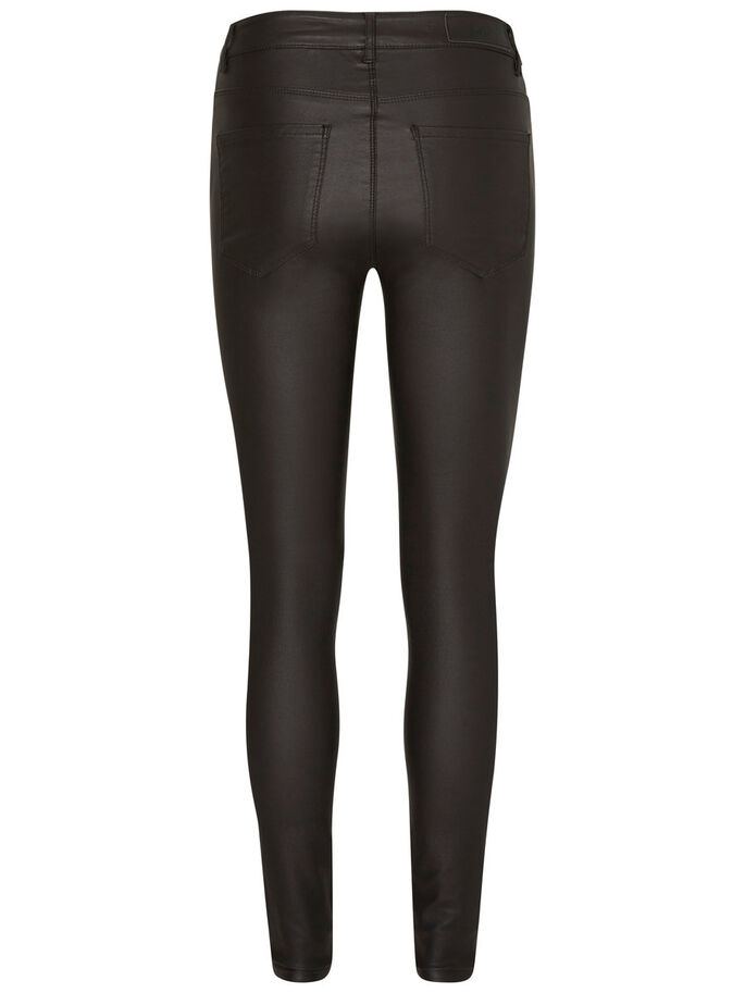 COATED HIGH-WAIST TROUSERS, Black, large