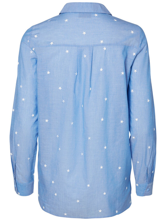 PRINTED LONG SLEEVED SHIRT, Light Blue Denim, large