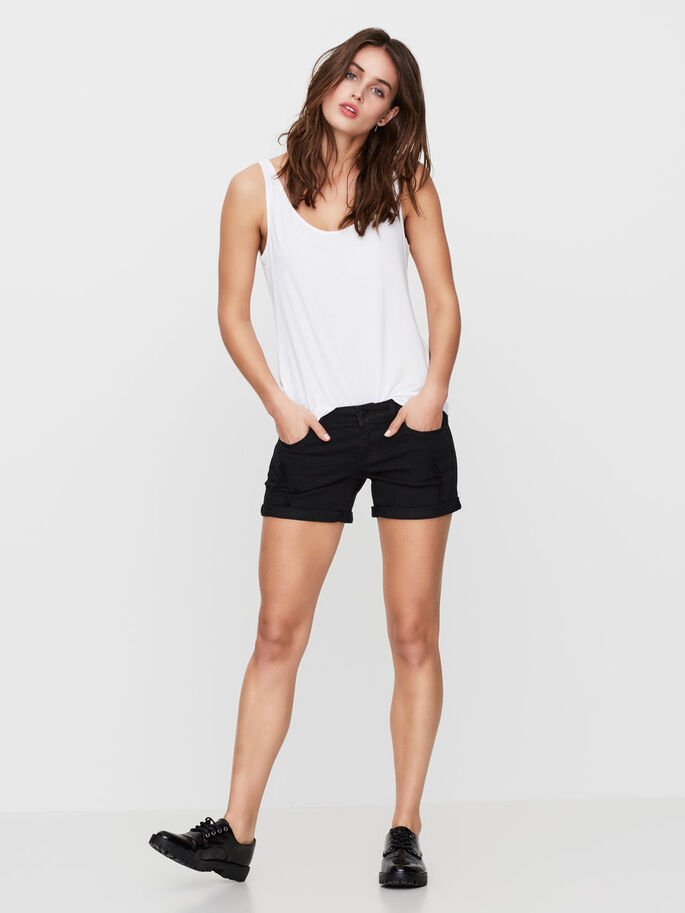 LW DENIM SHORTS, Black, large
