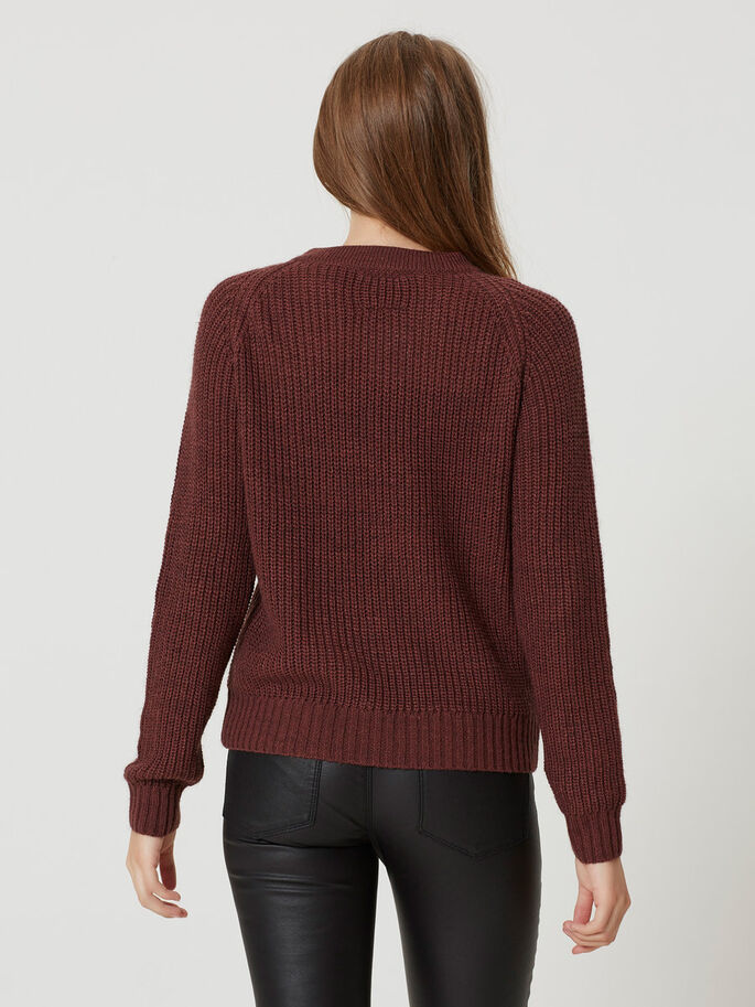 LONG SLEEVED KNITTED PULLOVER, Decadent Chocolate, large