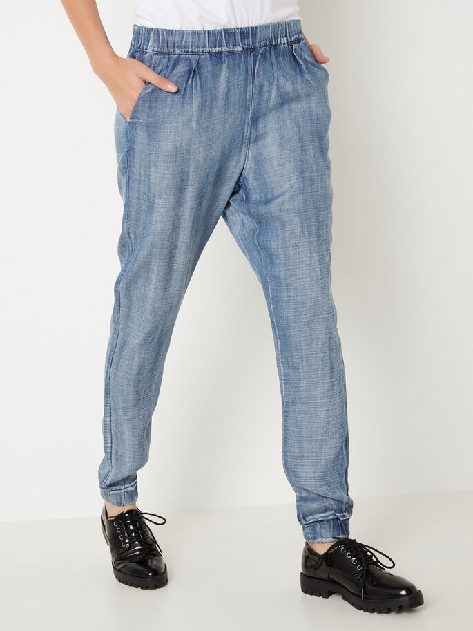 LOOSE FIT TROUSERS, Dark Blue Denim, large