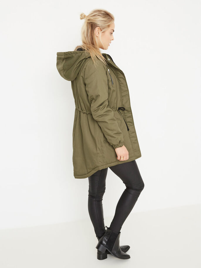HOODED PARKA COAT, Ivy Green, large