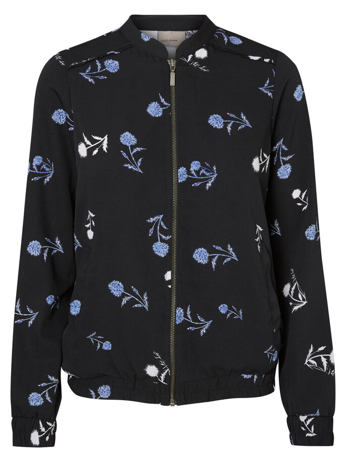 PRINTED BOMBER JACKET, Black, large