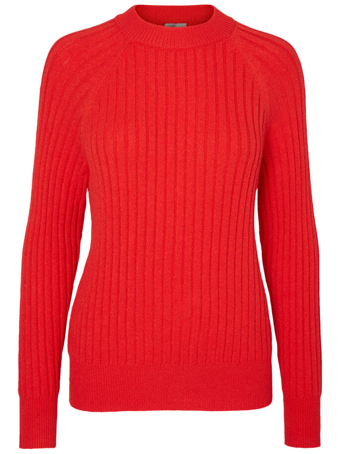 COL MONTANT PULL EN MAILLE, High Risk Red, large