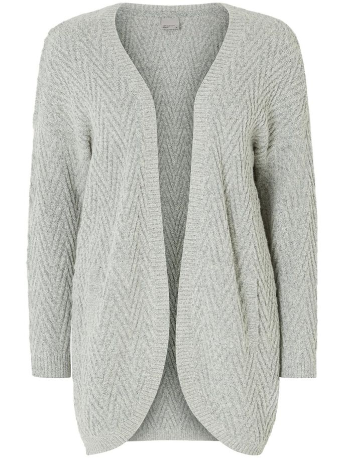 LONG SLEEVED KNITTED CARDIGAN, Light Grey Melange, large