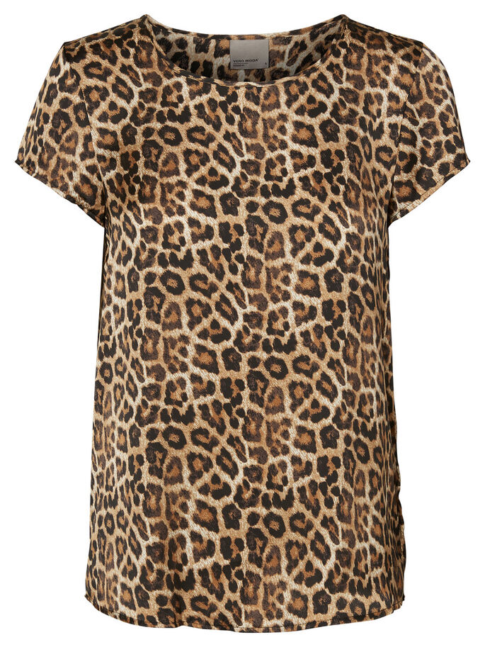 LEOPARD SHORT SLEEVED TOP, Black, large