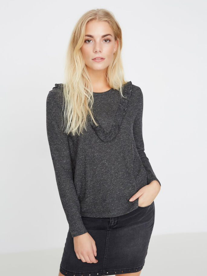 FEMININ TOP MED LANGE ÆRMER, Black, large