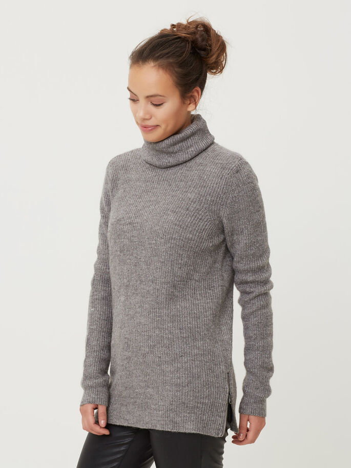 TURTLENECK KNITTED PULLOVER, Medium Grey Melange, large