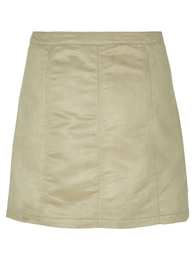 FAUX SUEDE HW SKIRT, Silver Mink, large