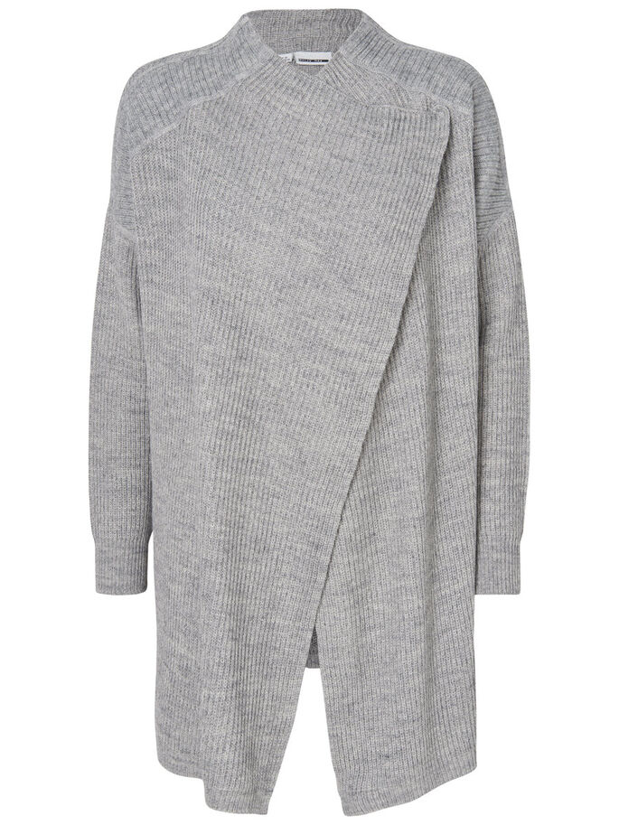 LANGÆRMET STRIKKET CARDIGAN, Medium Grey Melange, large