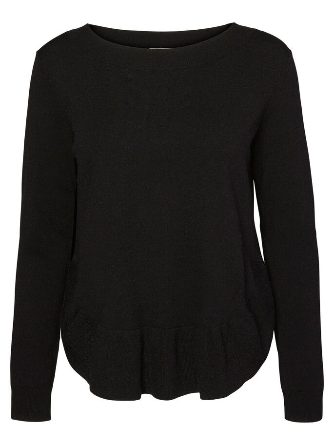 FEMININE LONG SLEEVED BLOUSE, Black Beauty, large