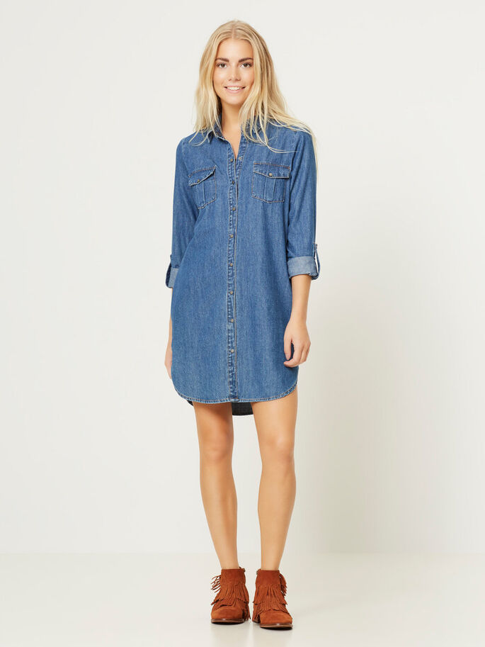 DENIM SHORT DRESS, Light Blue Denim, large