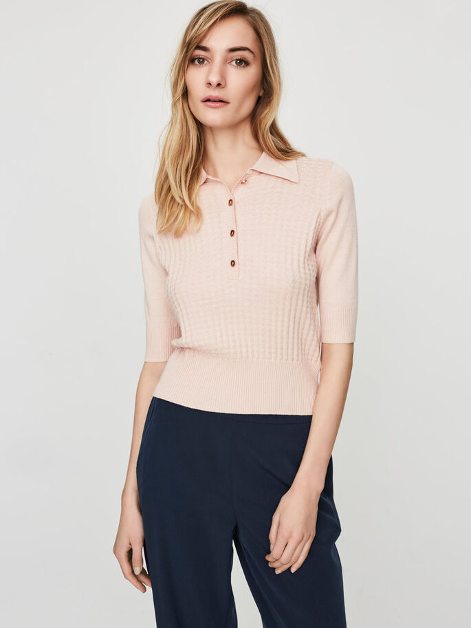 KURZÄRMELIGE POLO- BLUSE, Peach Whip, large