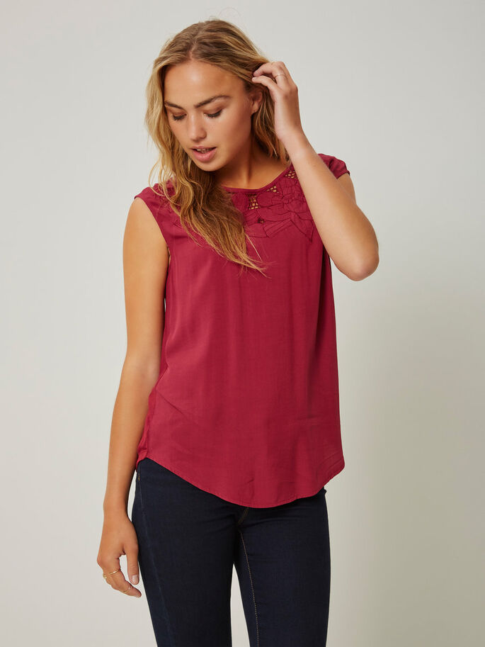 EMBROIDERED SLEEVELESS TOP, Rhododendron, large