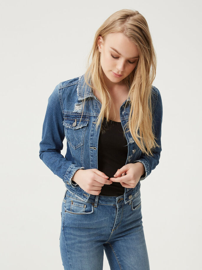 DESTROYED DENIM JACKET, Medium Blue Denim, large