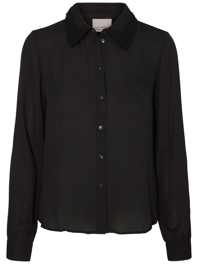 LACE LONG SLEEVED SHIRT, Black, large