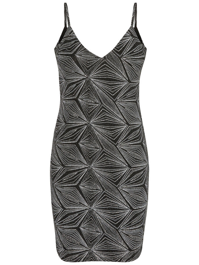 GLITTER SLEEVELESS DRESS, Black, large