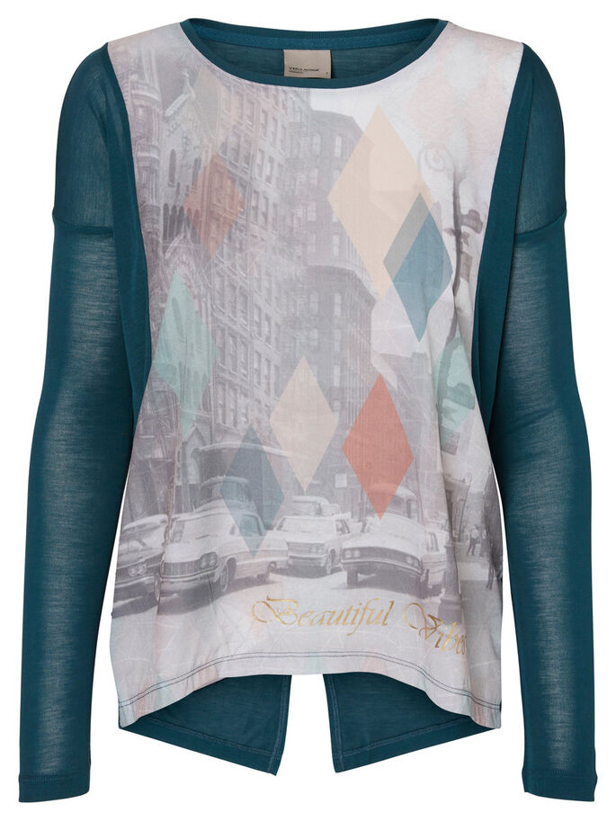 PRINTED LONG SLEEVED BLOUSE, Reflecting Pond, large