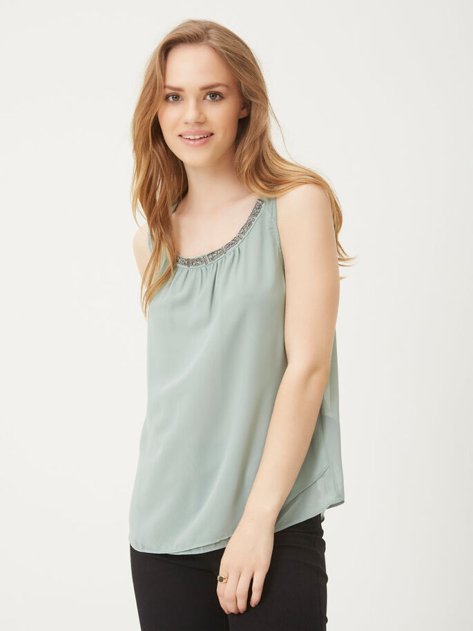 PAILLETTEN MOUWLOZE TOP, Chinois Green, large