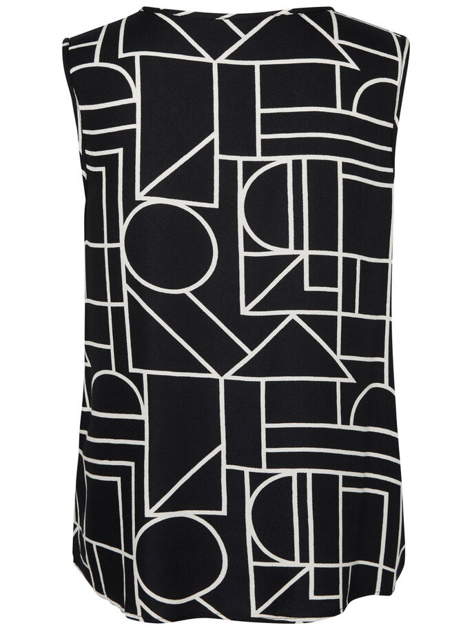 GRAPHIC SLEEVELESS TOP, Black, large