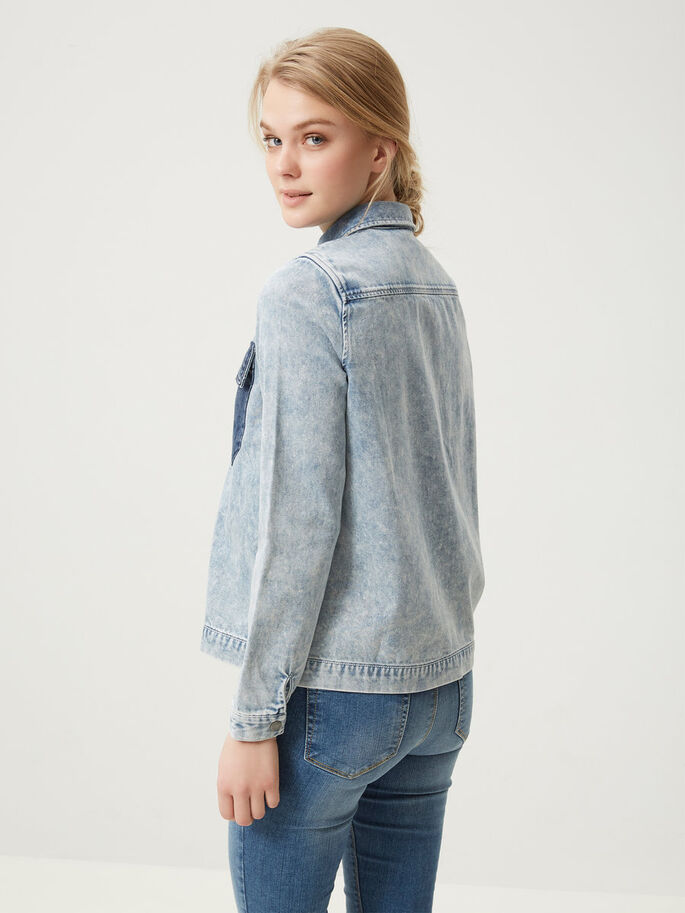 LONG SLEEVED DENIM SHIRT, Light Blue Denim, large