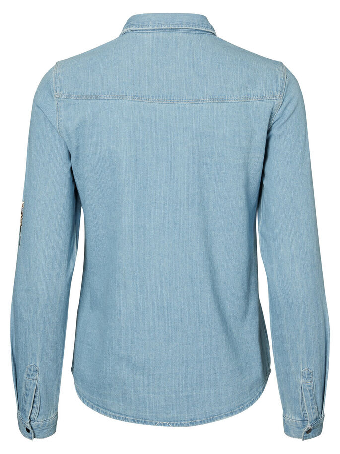 DETALJERT DENIMSKJORTE, Light Blue Denim, large