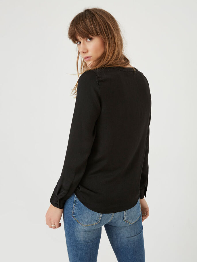 FEMININE LONG SLEEVED SHIRT, Black, large