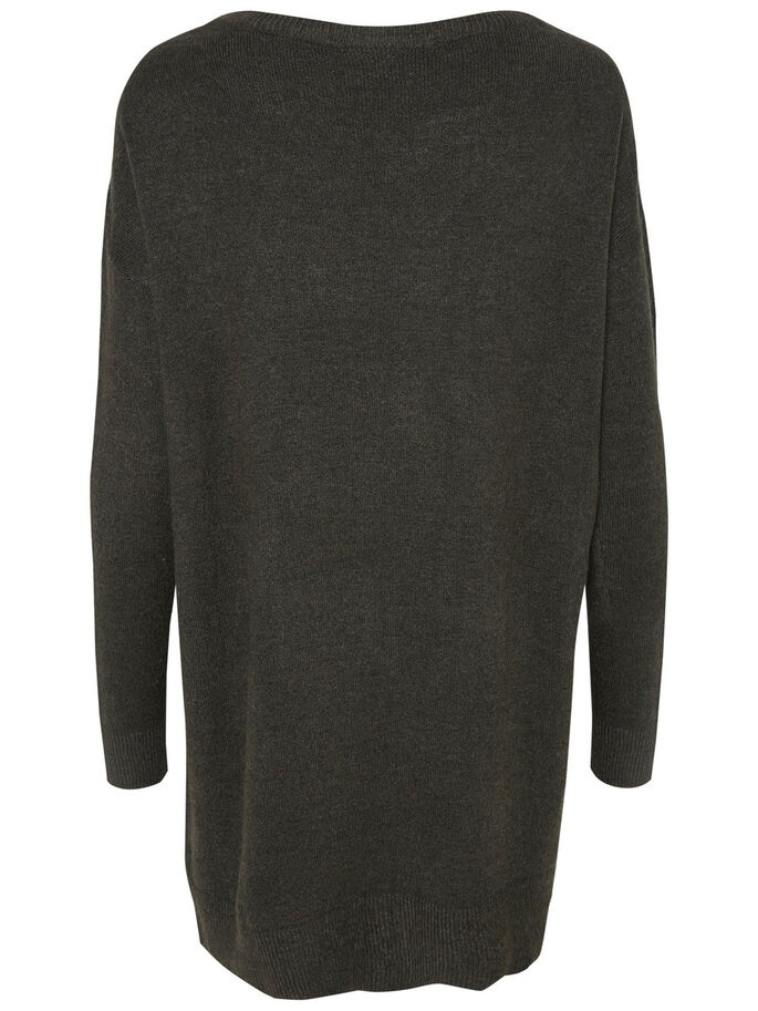 LONG SLEEVED KNITTED PULLOVER, Peat, large