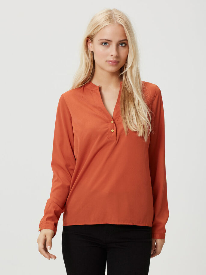 CASUAL LONG SLEEVED BLOUSE, Burnt Brick, large