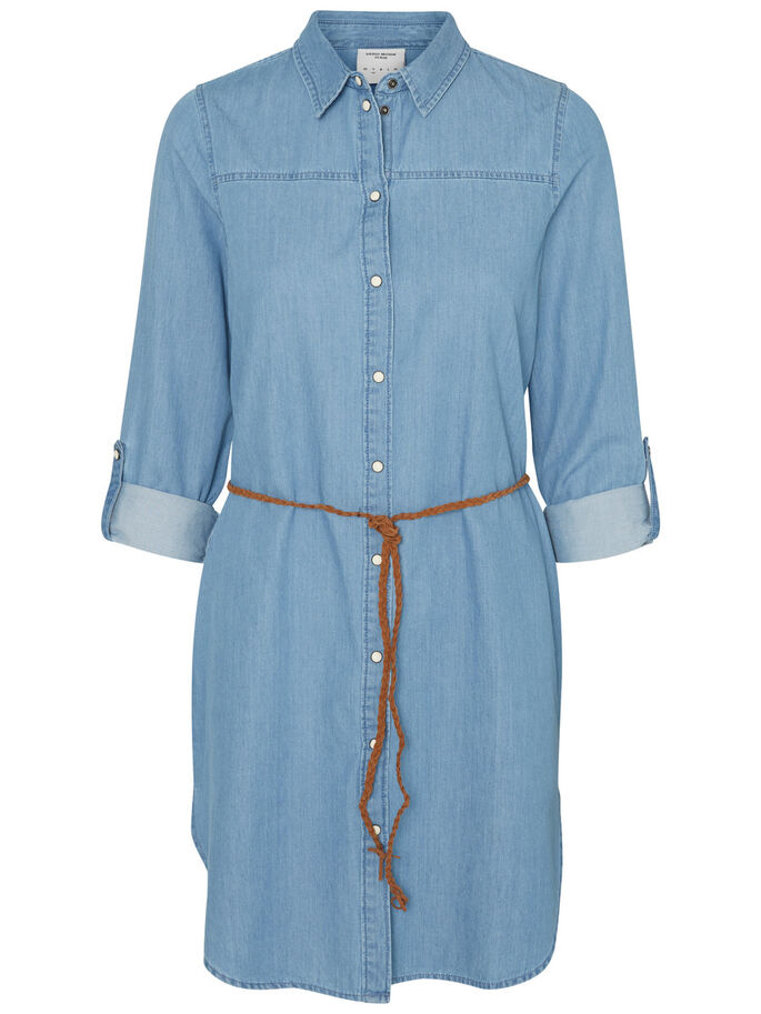 SHIRT DRESS, Light Blue Denim, large