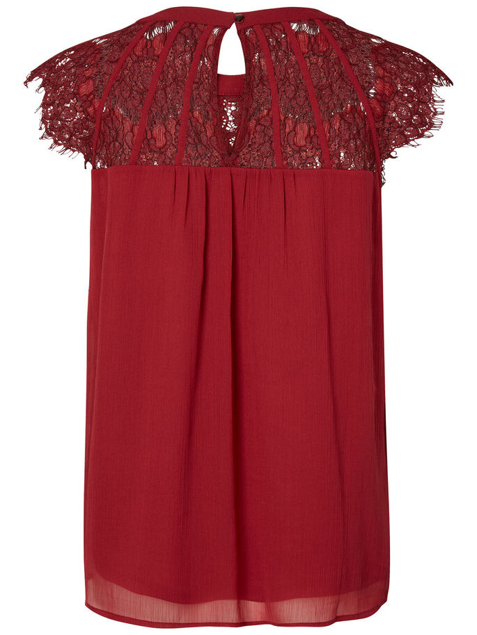 LACE SHORT SLEEVED TOP, Tibetan Red, large
