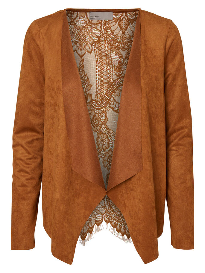 LACED FAUX SUEDE BLAZER, Monks Robe, large