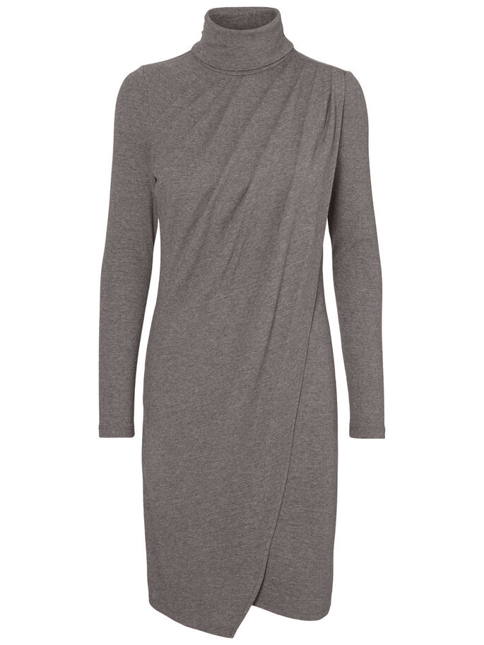 HIGH-NECK KLEID, Medium Grey Melange, large
