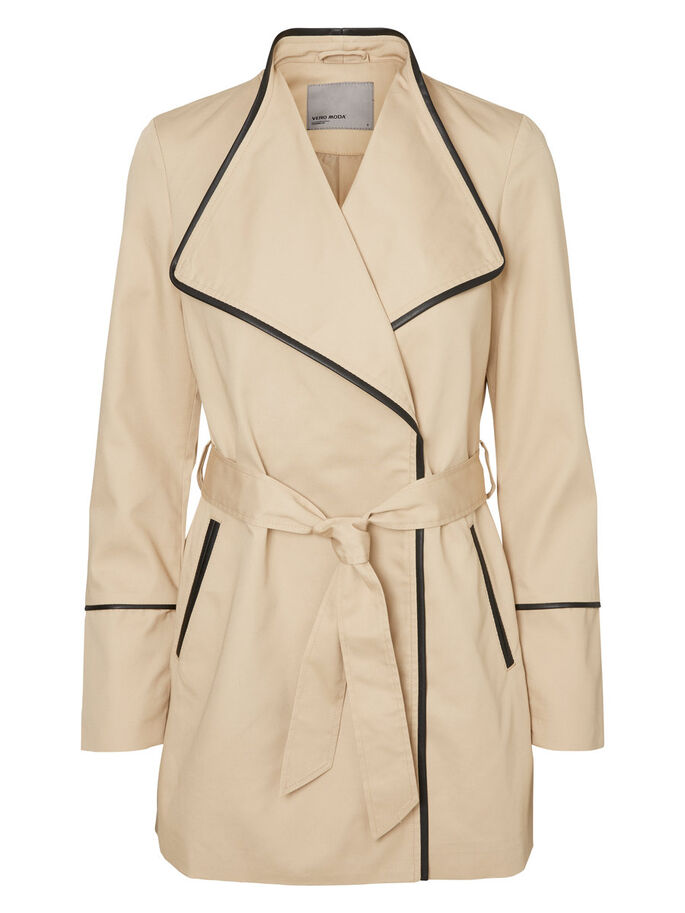 SHORT TRENCHCOAT, Stocking Beige, large