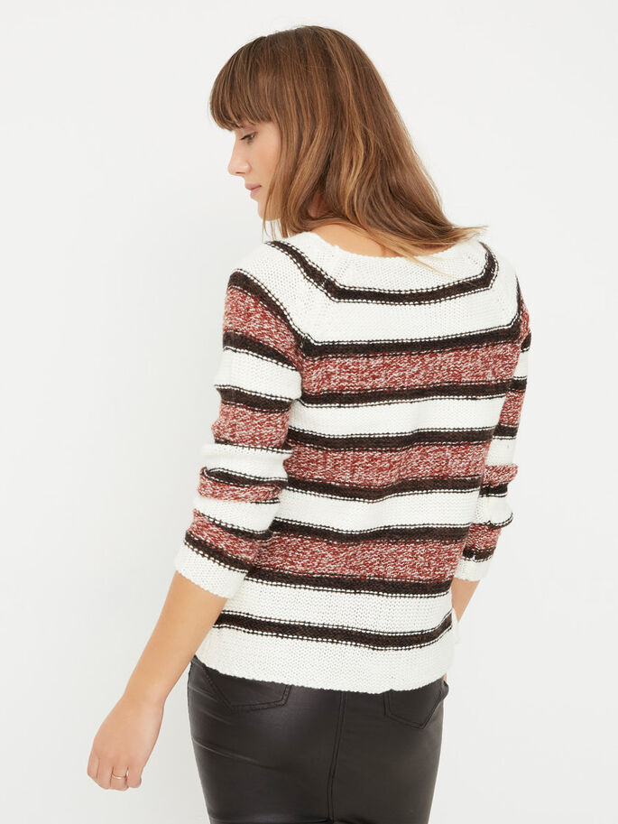 LONG SLEEVED KNITTED PULLOVER, Snow White, large