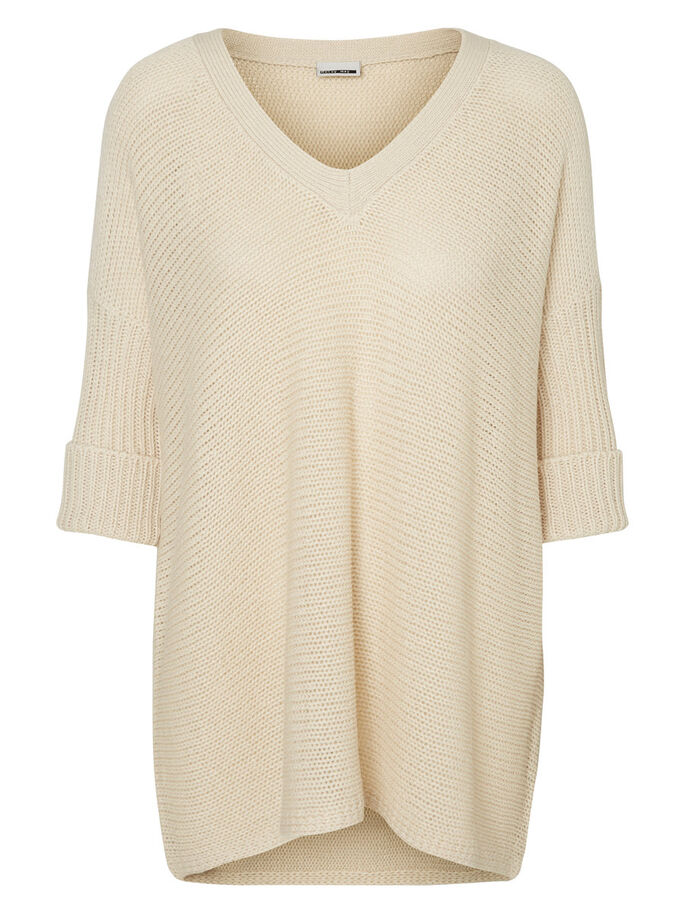OVERSIZED PULL EN MAILLE, Oatmeal, large