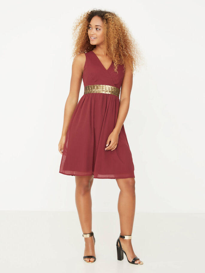 SLEEVELESS SHORT DRESS, Zinfandel, large