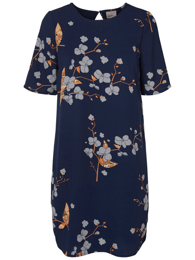 FLOWER PRINTED SHORT DRESS, Navy Blazer, large
