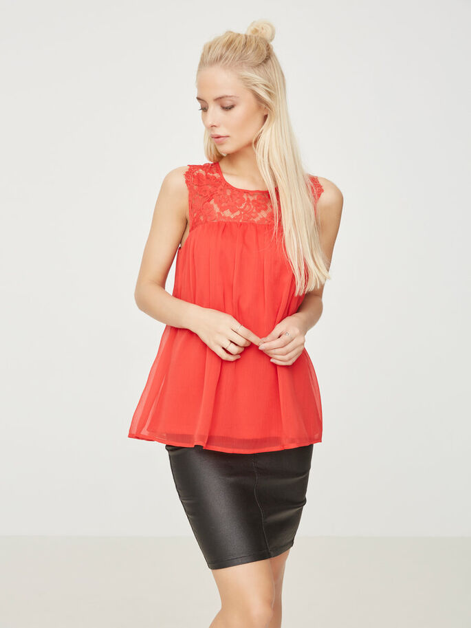 LACE SLEEVELESS TOP, Racing Red, large