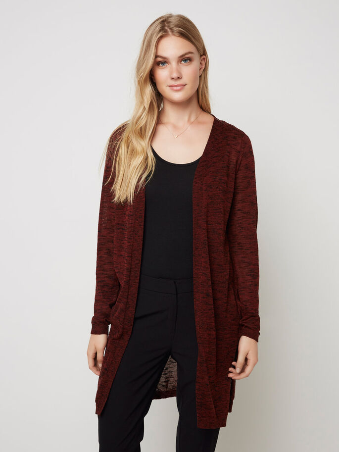 LONG JERSEY CARDIGAN, Fired Brick, large